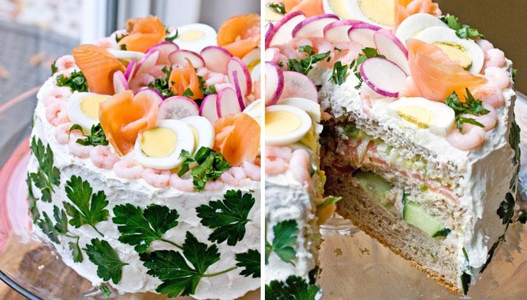 Торт-сэндвич: интересные закуски на Новый Год 2017
