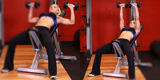 упражнение жим гантелей лёжа на наклонной скамье для женщин