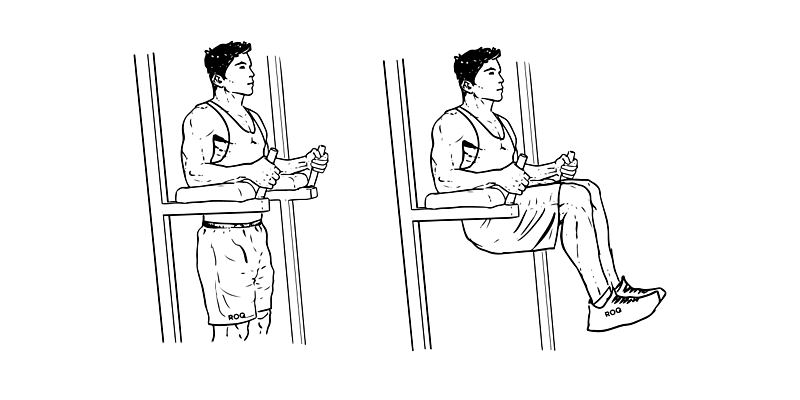 Подъём ног с упором на локти