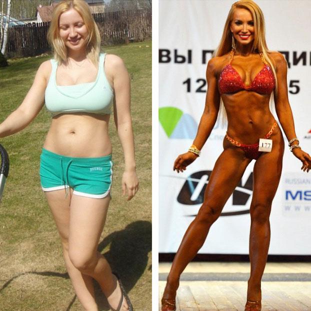 Екатерина Красавина Фитнес-бикини до и после