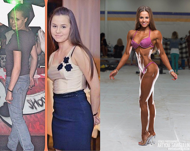 Елизавета Мукминова Фитнес-бикини до и после